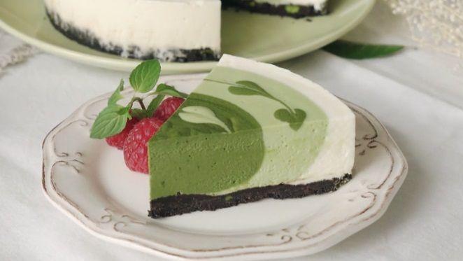 γιαπωνέζικο cheesecake με πράσινο τσάι